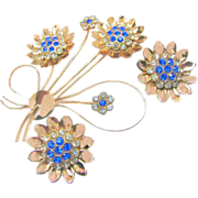 Huge COROCRAFT STERLING Blue Rhinestone Flower Brooch & Earrings Bookpieces c.1940's