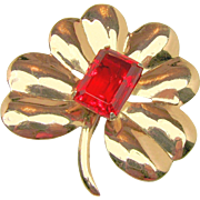 '40's Large CORO MEXICO SILVER Flower Brooch Stepped Red Glass Stone by HECTOR AGUILAR