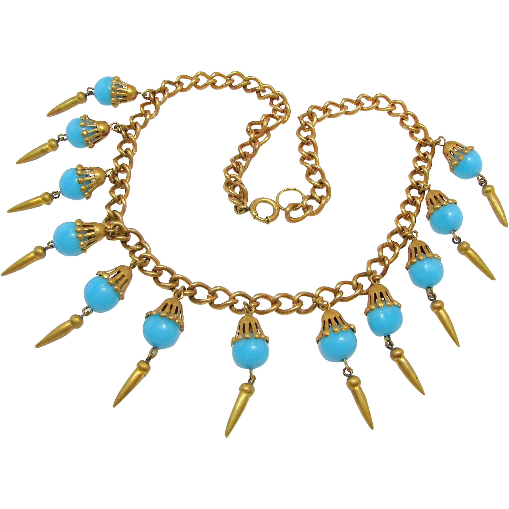 MIRIAM HASKELL NECKLACE w/ Turquoise Art Glass Drops 'n Brass Chain-Early 1940's
