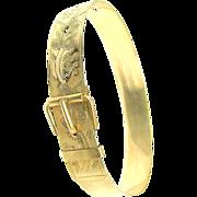 Ornately Etched Cigar Band BUCKLE BANGLE Bracelet c.1872