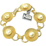 CORO's Bracelet Gold Washed over STERLING Orig.Tag w/ Baroque Glass Pearls c.1940's