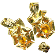 c.1930's McCLELLAND BARCLAY Earrings Gold over Sterling w/ Glass Citrine
