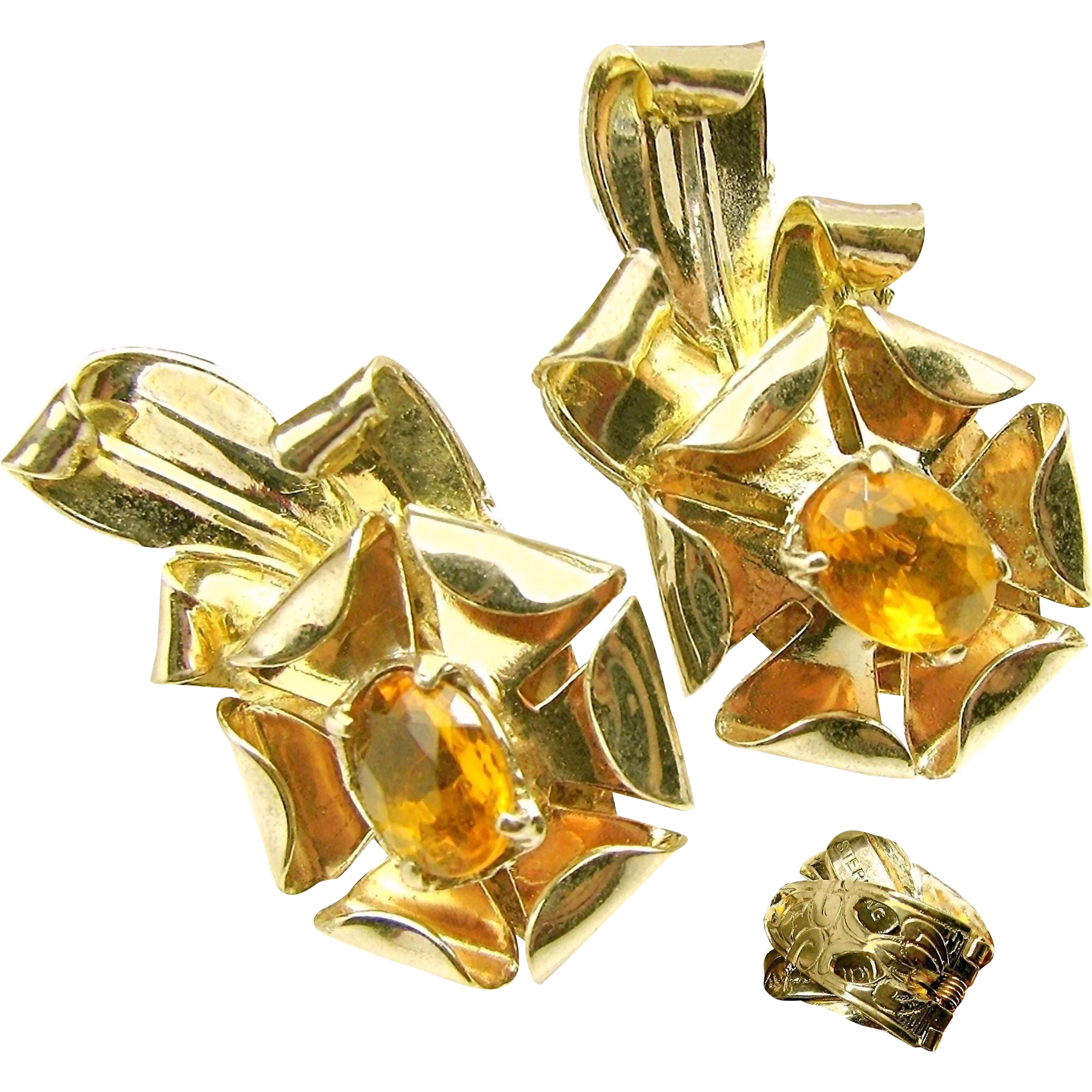 Rare McCLELLAND BARCLAY Glass Citrine w/ Gold over Sterling Earrings c.1930's
