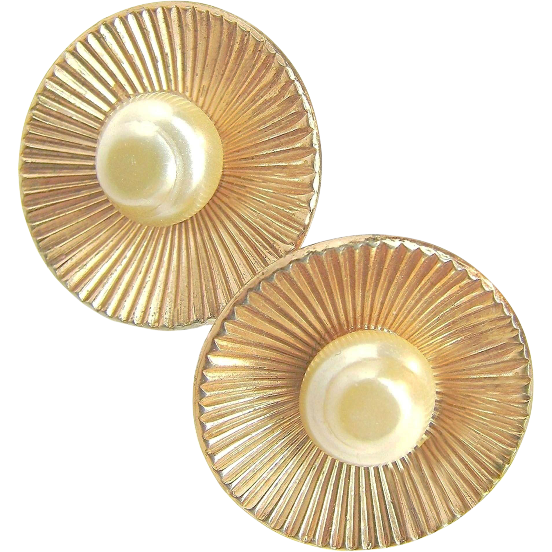 Mid-Century CORO STERLING's Faux Baroque Glass Pearl Earrings Gold Washed c.1940's