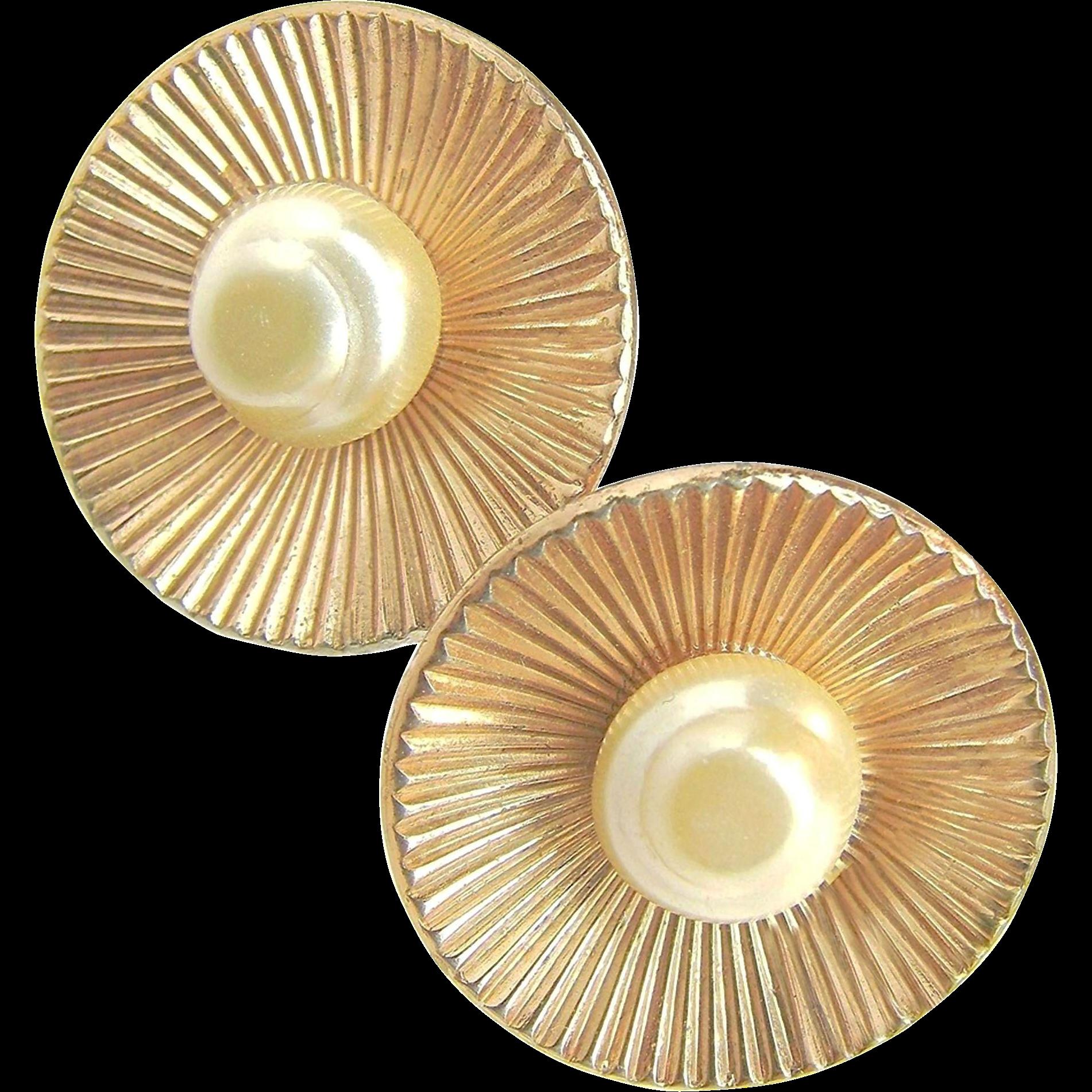 Vintage Vermeil CORO STERLING Baroque Glass Pearl Earrings c.1940's