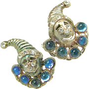 JACK in the BOX Rare Figural Earrings w/ Blue Glass Moonstones c.1930's