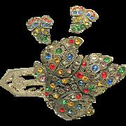 Rare Art Deco Little Nemo LN / 25 Pin Clip Set of Jewel-tone Rhinestones