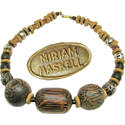 Vintage MIRIAM HASKELL Chunky Necklace of Warm Tone Wood 'n Cork