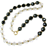 SIMMONS' Crystal Day-Night Necklace Original Chain Strung circa late 1930's