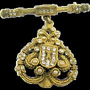 "DeNICOLA's Rhinestone Regal Shield Brooch ""The Real Look"" Collection c.1950's"