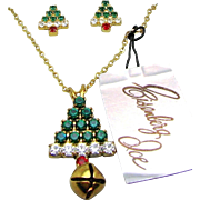 EISENBERG ICE Red 'n Green Rhinestone Christmas Tree Necklace w/ Earrings Orig. Box