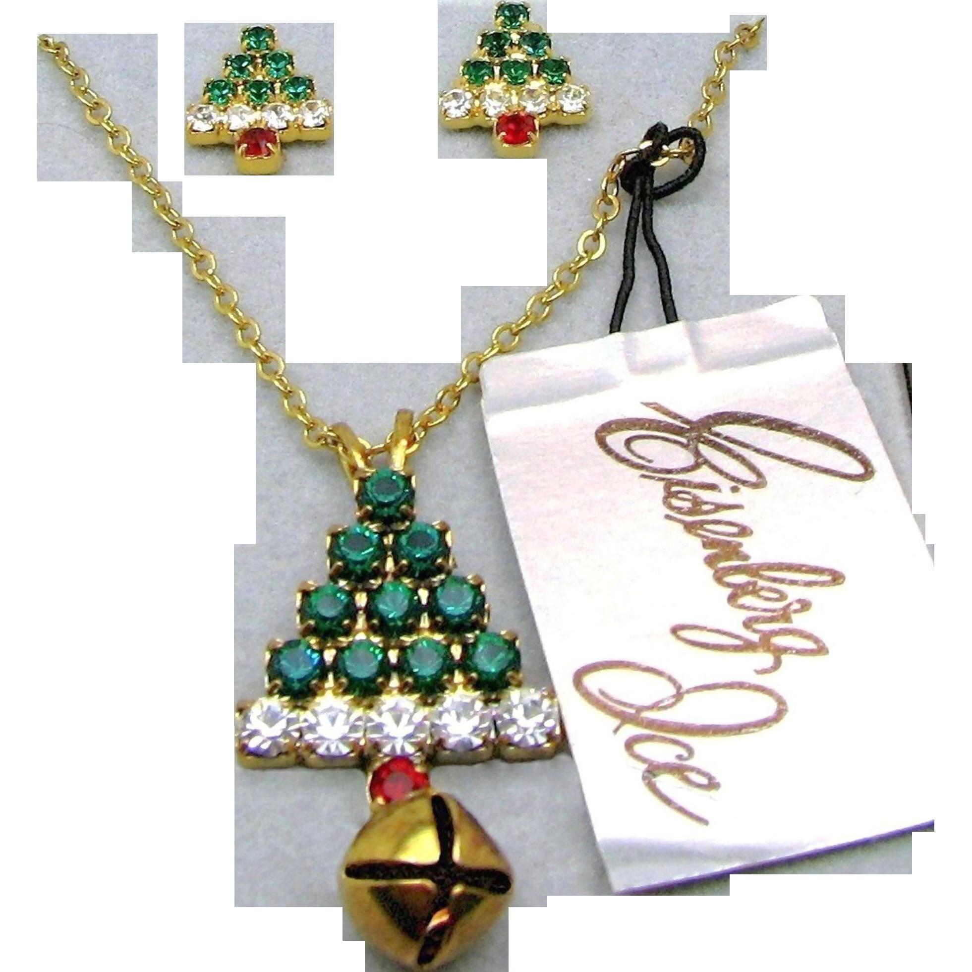 EISENBERG ICE Red 'n Green Rhinestone Christmas Tree Necklace w/ Earrings Orig. Box