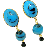 Vintage CASTLECLIFF Swirling Art Glass Earrings - Blue Dangles w/ Black Drops