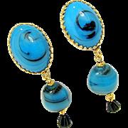 Vintage CASTLECLIFF Swirling Art Glass Earrings - Blue Dangles w/ Black Drops