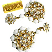 Beautiful Gilded Brass Pendant SANDOR Earrings w/ Clear White Rhinestones 'n White Glass c.1950's