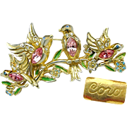 CORO's Pink Rhinestone Bellied BILL & COO Brooch & Earrings Patented c.1948
