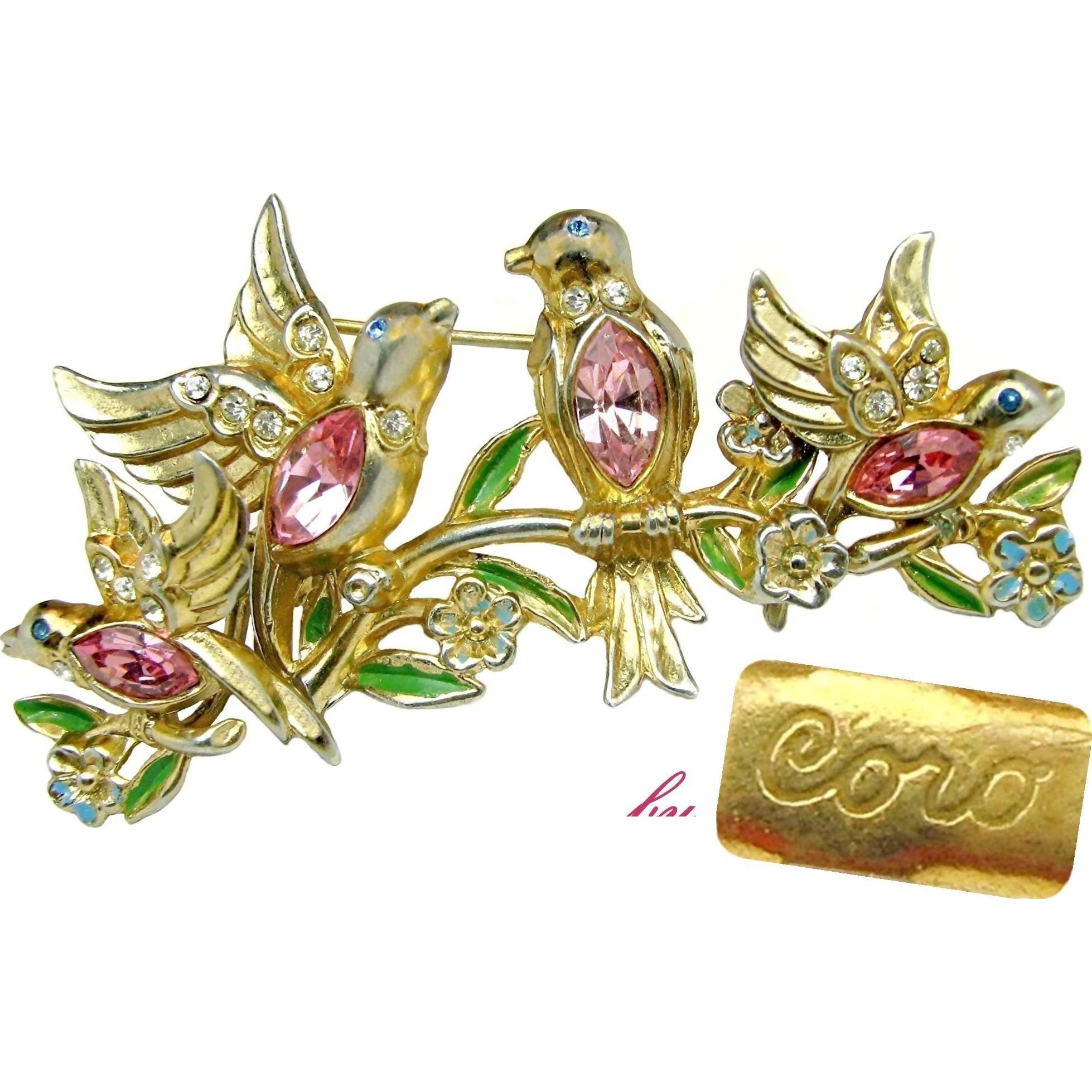 CORO's Pink Rhinestone Bellied BILL & COO Brooch & Earrings Patented c.1948