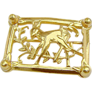 Gold Washed Sterling Silver STERLING CRAFT by CORO's Fawn Lapel Brooch c.1942