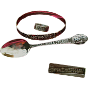 Gorham Sterling Ring, Bracelet, Spoon Set for Chicago WORLD's FAIR c.1892 - Cased