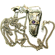 Gold over Sterling Silver Ornate Mid-Century Holster w/ Six Shooter Pendant 'n Chain