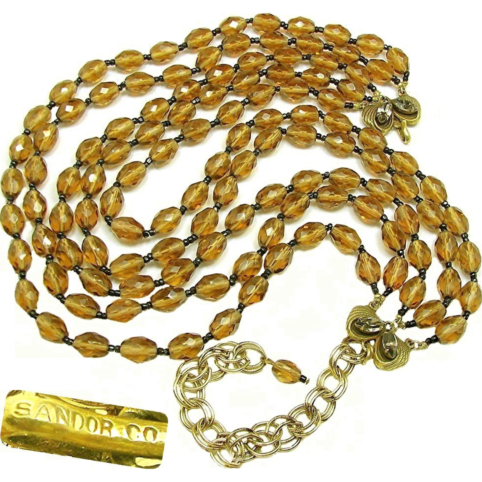Vintage SANDOR 5-Strand Mid-Century Necklace of Smokey Topaz Glass