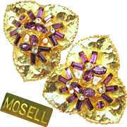 Stunning MOSELL Rare Dimensional LILY PAD Earrings w/ Amethyst Rhinestones c.1950's