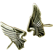 WWII SWEETHEART Sterling Earrings of US Army Air Corp Pilot Wings c.1940's