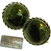 Stellar VICTORIAN Earrings of IRISH Sterling 'n Green Connemara Marble c.1885