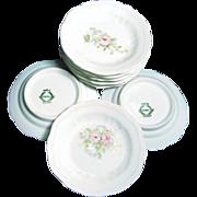 Set of 6 Ornate Pink ROSES BUTTER PATS - Austrian Porcelain c.1900