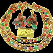 Vintage VOGUE JEWELRY's Necklace 'n Pendant Earrings w/ Art Glass