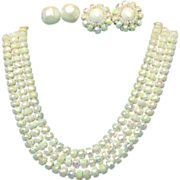 Vintage CASTLECLIFF Iridescent 3 Strand Necklace w/ 2 Pair of Earrings - Pat.Pend.