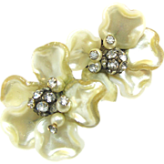 Jonne's Pearlized Glass Flower Earrings w/ Rhinestone Stamen c.1940's