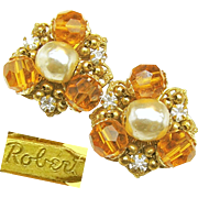 Flashy Baroque Glass Pearl ROBERT EARRINGS w/ Golden Faceted Glass 'n Rhinestones c.1950's