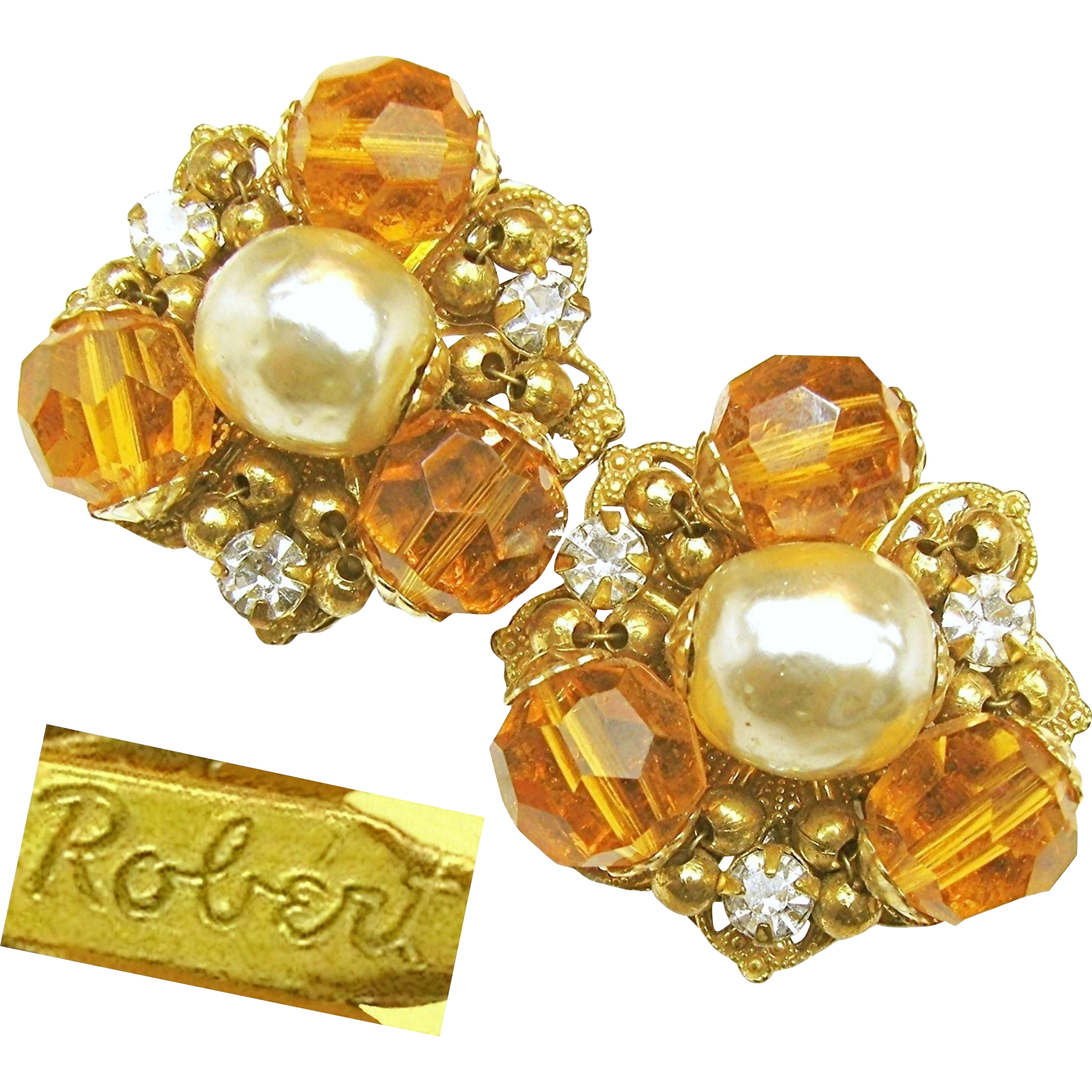 Vintage ROBERT Baroque Glass Pearl EARRINGS w/ Golden Faceted Glass 'n Rhinestones c.1950's
