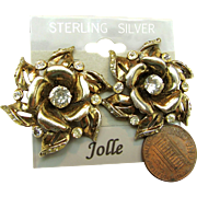 Vintage Hess-Appel's Jollé Gold Over Sterling Earrings Rhinestone Accented ROSE Blossoms c.1940's