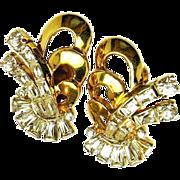 Vintage MAZER BROS. 'Real Thing' Look Rhinestone Earrings c.1940's