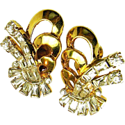 Exquisite MAZER BROS. 'Real Thing' Look Clear White Rhinestone Earrings c.1940's