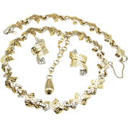 Elegant Rhinestone Necklace, Bracelet 'n Earrings Parure by Jomaz c.1950's
