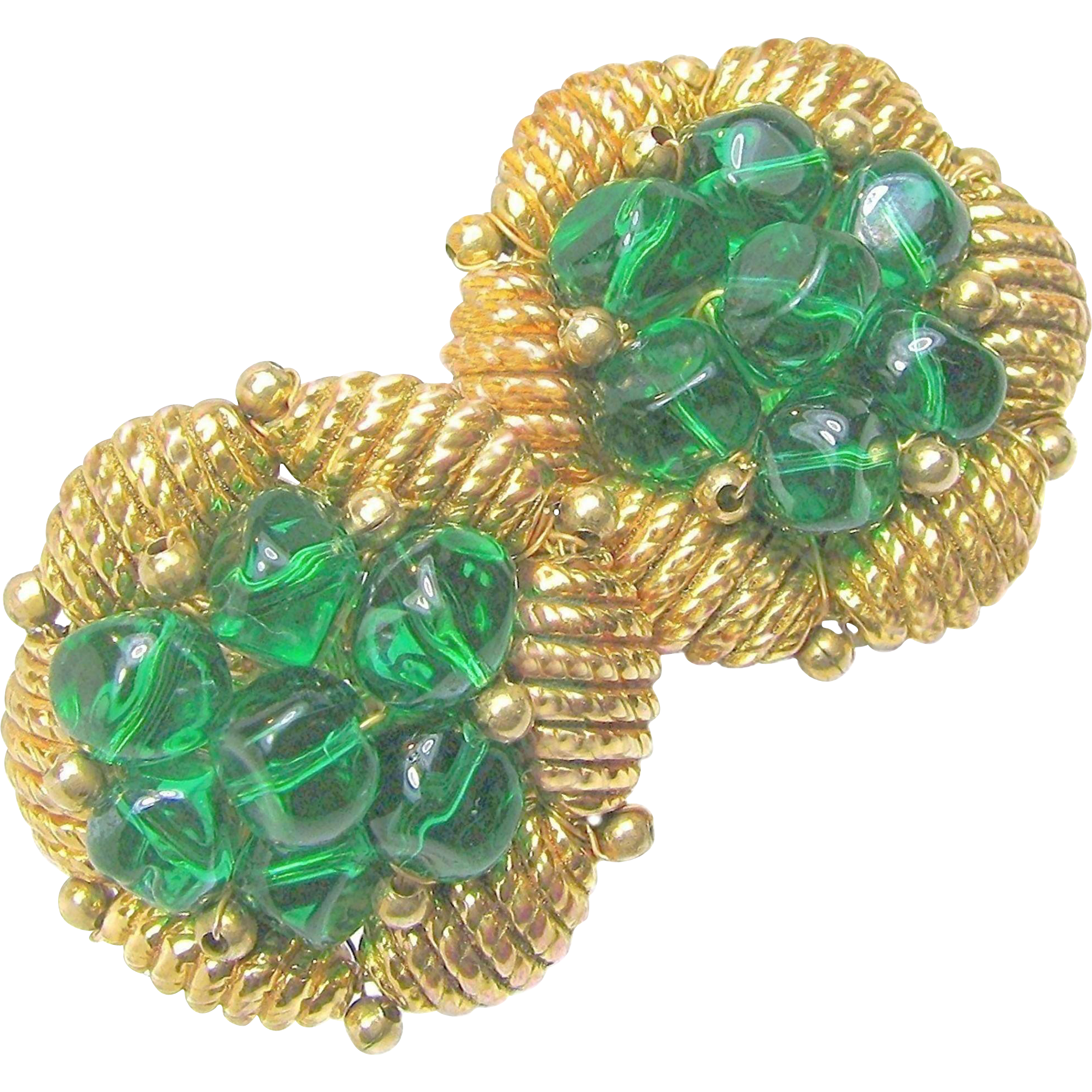 Dynamite Castlecliff Handwired Pinched Green Glass Earrings c.1950's