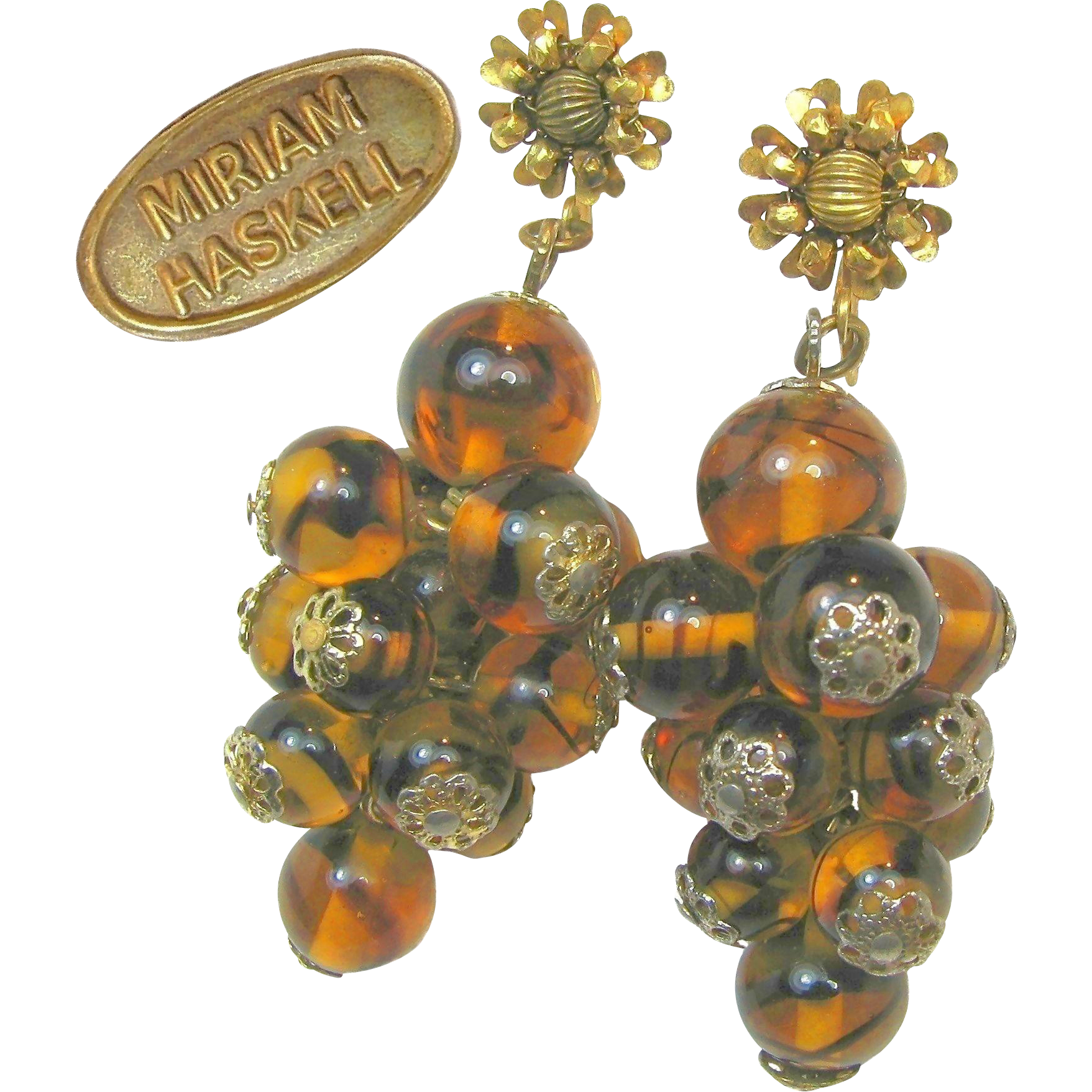 Vintage MIRIAM HASKELL Pendant EARRINGS of Hand Blown Swirling Tortoise Glass