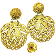 Vintage MIRIAM HASKELL PIERCED Earrings Ornate 'Lacey' Filigree Pendants