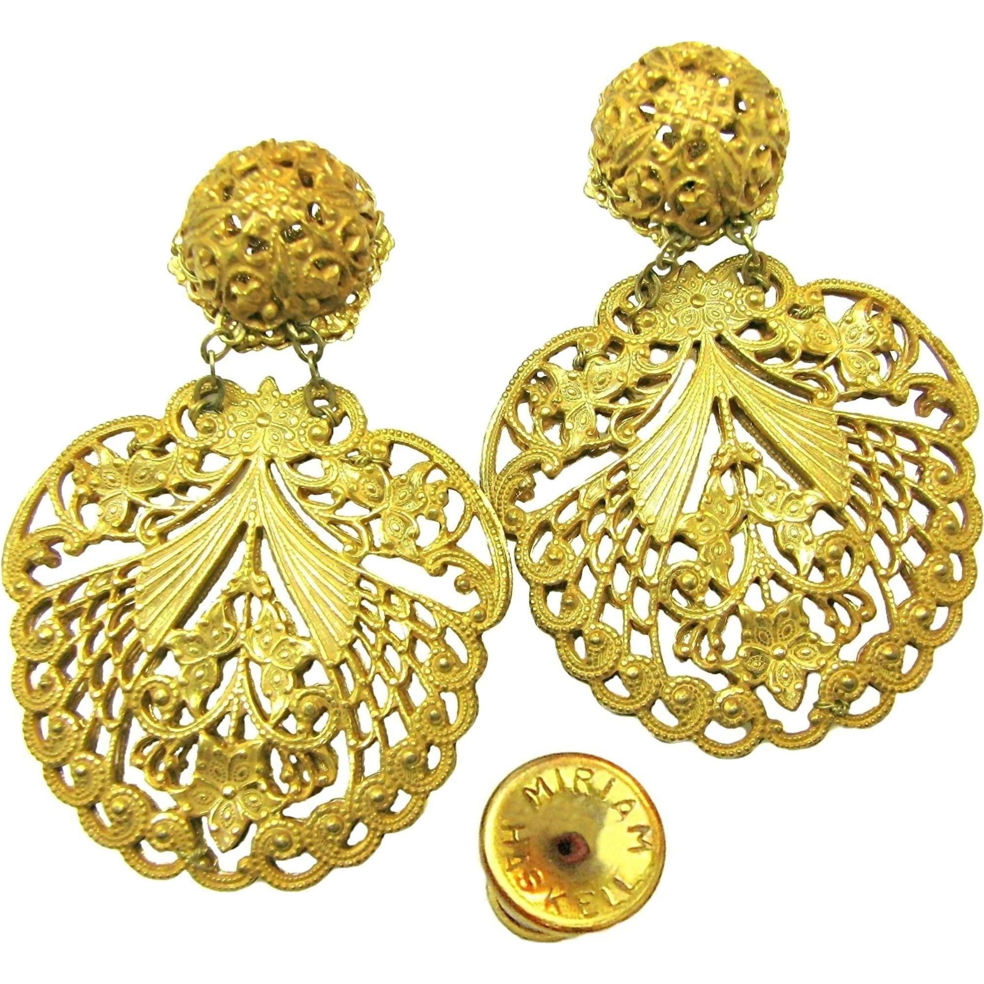 Vintage MIRIAM HASKELL PIERCED Earrings Ornate 'Lacey' Filigree Pendants