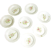 Set of 6 Ornate Art Nouveau Pink ROSES BUTTER PATS of Austrian Porcelain c.1900