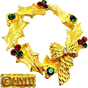 Vintage MyLu Christmas Wreath Brooch w/ Rhinestones c.1960's