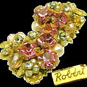 Vintage ROBERT Corsage Earrings w/ Rose Montee 'n Pink Rhinestones c.1950's