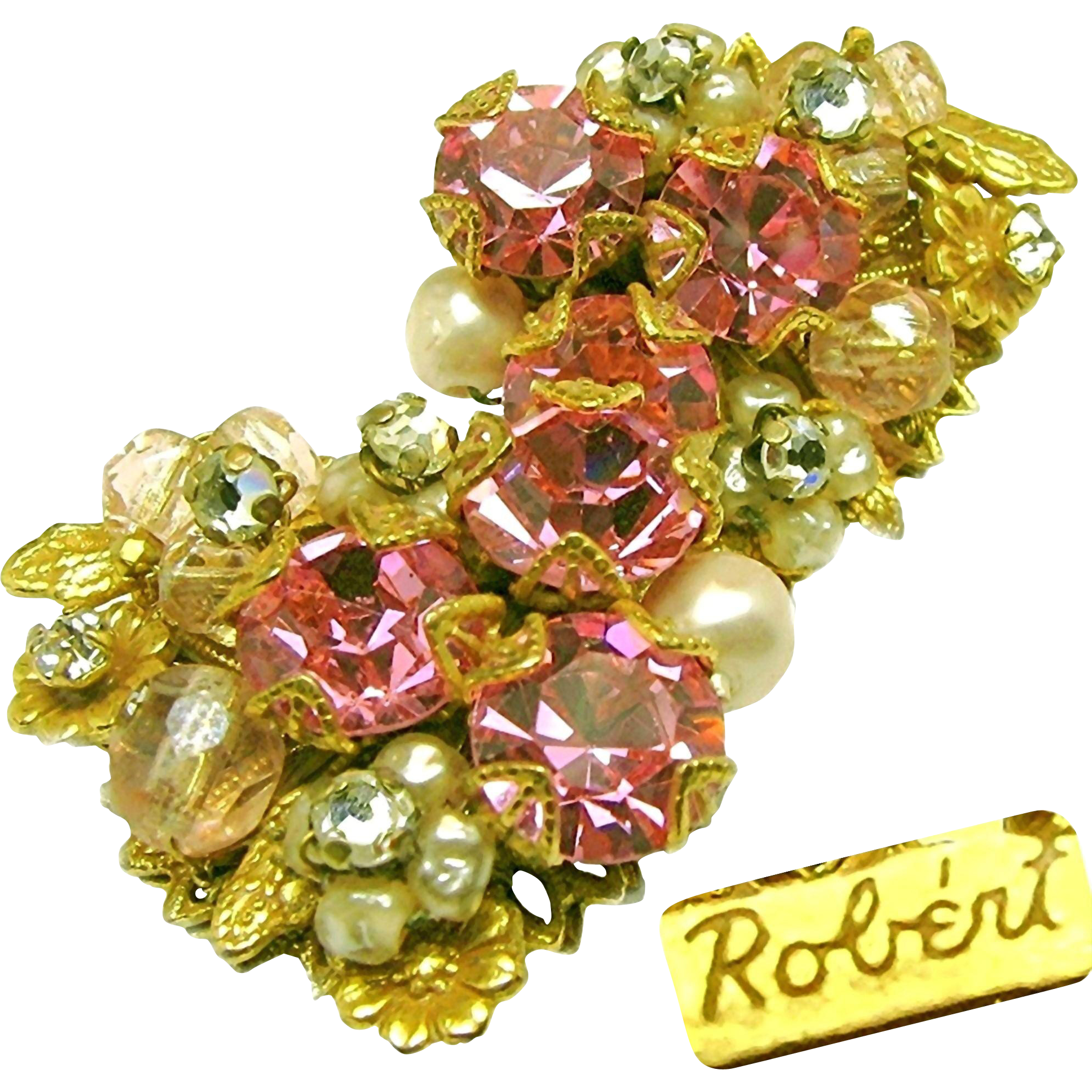 Vintage ROBERT Corsage Earrings w/ Rose Montee 'n Pink Rhinestones c.1950's