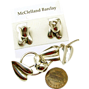 c.1930's McCLELLAND BARCLAY's Sterling Floral Bells Brooch 'n Earrings - Exquisite