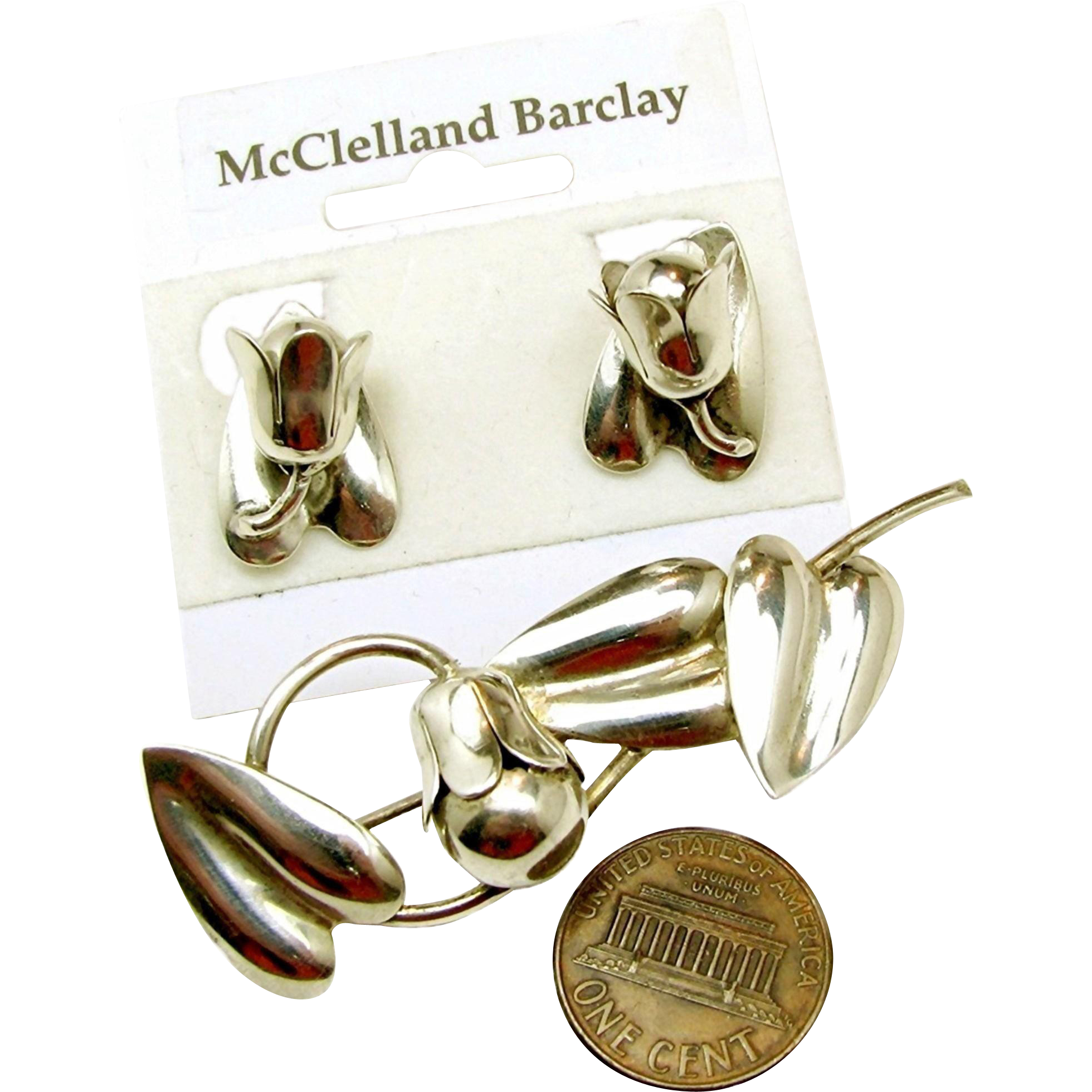 Exquisite McCLELLAND BARCLAY's Sterling Floral Bells Brooch 'n Earrings c.1930's