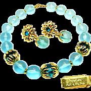 Vintage NAPIER Chunky Necklace w/ Flower Pendant Earrings of Translucent Aqua Orbs