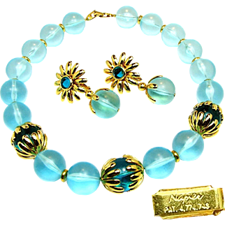 Vintage NAPIER's Chunky Necklace w/ Flower Pendant Earrings of Translucent Aqua Orbs